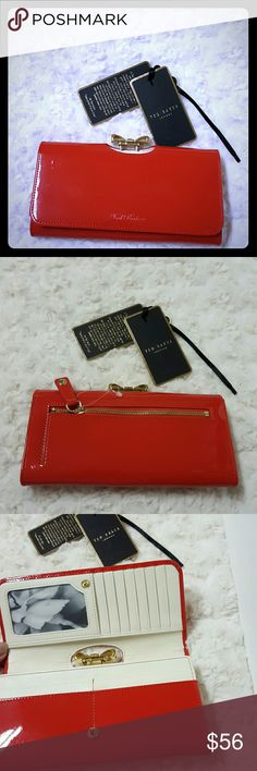 """Ted Baker London Crystal Bow Patent - NWT SALE:Ted Baker London Crystal Bow Patent Brick Red, new never been used. L4"""" x W 7.5"""". Ted Baker London Bags Wallets"""