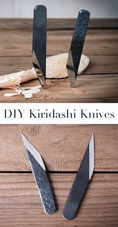 DIY Kiridashi Knives The Kiridashi knife is a traditional wood carving knife, widely used in Japan. But it also is a marking knife, used by almost all the Japanese carpenters, as well as a versatile tool for general use. Knives And Tools, Knives And Swords, Carving Tools, Wood Carving, Fabrication Metal, Diy Knife, Metal Projects, Lathe Projects, Knife Sharpening
