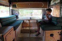 Optimus - Interior Reveal of our 1974 VW Jurgens Campervan (Finally) - 3 Kids, 2 Dogs and 1 Old House 3 Kids, 4 Months, Campervan, Corner Desk, Vw, Home Appliances, Interior, Dogs, Furniture