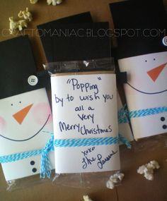 """""""Popping by to say Merry Christmas"""" Snowman neighbor gift.  Pair with a free Red Box rental and you're set!"""