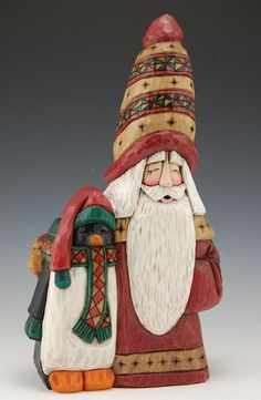 Santa and Penguin - Polar Pals | Santa Claus Figurines and Hand Carved Wooden Santas