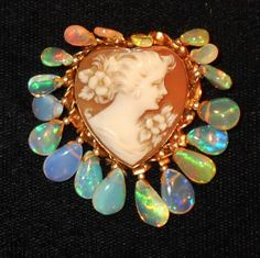 Vintage Carved Shell Cameo Heart Pendant, Brooch, Necklace Marked Gold Filled Dripping in Almond Shaped Ethiopian Natural Rainbow Opals by emenow, $179.00