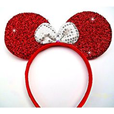 MINNIE MOUSE EARS Headband Red Sparkle Shimmer white Sequin Bow Mickey ($19) ❤ liked on Polyvore featuring accessories, hair accessories, hair bow accessories, red sequin headband, bow headwrap, sparkly headbands y sparkly hair accessories