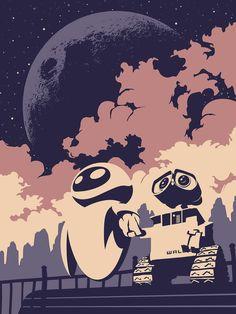 Wall-E Poster by Luke Stover Disney Pixar, Disney And Dreamworks, Disney Art, Walt Disney, Disney Villains, Wall E Eve, Disney Love, Disney Magic, Plakat Design