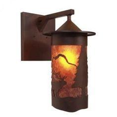 Steel Partners Elk 1 Light Outdoor Wall Lantern Finish: Architectural Bronze, Shade Type: Amber Mica