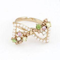 Digital Multicolor Personality Sweet Bow Pearl Alloy Korean #Rings  www.asujewelry.com