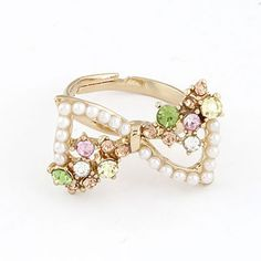 Digital Multicolor Personality Sweet Bow Pearl Alloy Korean #Rings  www.asujewelry.com