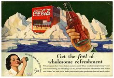 Get the feel of wholesome refreshment. #food #drinks #1930s #Coke #ads