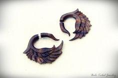 Wood Earring Fake Gauge, Swan Faux Gauge Earring, Sono Wood Fake Piercing Earrings W081-2 by balitribaljewelry. Explore more products on http://balitribaljewelry.etsy.com
