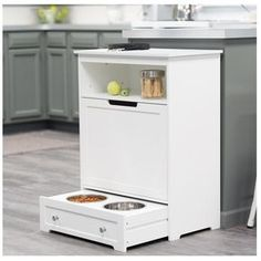 Pet Feeder Station Storage Cabinet Product Description: This dog food storage cabinet is not only great for storing pet supplies but also makes a great addit