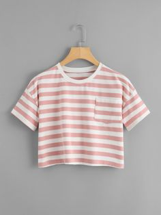 Shop Chest Pocket Striped Crop Tee at ROMWE, discover more fashion styles online. Cute Lazy Outfits, Crop Top Outfits, Pretty Outfits, Cool Outfits, Girls Fashion Clothes, Teen Fashion Outfits, Outfits For Teens, Cute Crop Tops, Crop Tops For Kids