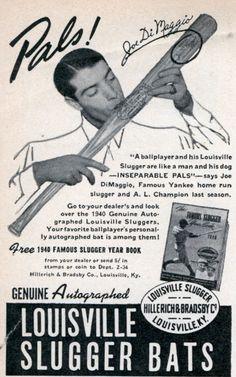 Joe DiMaggio for Louisville Slugger Bats Vintage Reproduction Sign 8122142 Sports Baseball, Baseball Players, Baseball Cards, Baseball Signs, Sports Art, Softball, Sports Advertising, Louisville Slugger, Louisville Kentucky