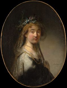 """A Young Woman as a Shepherdess (""""Saskia as Flora"""") Govert Flinck (Dutch, Cleve 1615–1660 Amsterdam) Medium: Oil on canvas, transferred from wood Dimensions: Oval, 26 1/4 x 19 7/8 in. (66.7 x 50.5 cm) Classification: Paintings Credit Line: Bequest of Lillian S. Timken, 1959 Accession Number: 60.71.15 This artwork is not on display"""