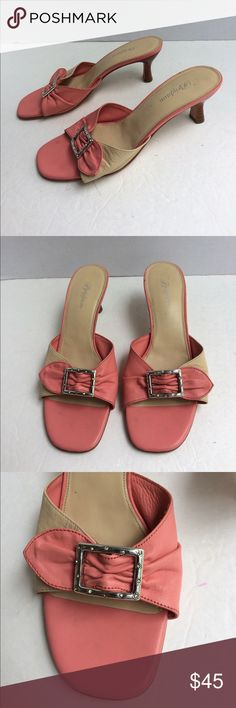 """Brighton Patti Leather Rhinestone Buckle Sandals Gorgeous pink and beige leather slip on sandals. Rhinestone buckle embellished around the front strap. 2-1/2"""" kitten heel. Leather soles. Very gently worn with only extremely light scuffs on soles. Bench made in Brazil. Brighton Shoes Mules & Clogs"""