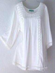 Ivory White Crochet Lace Peasant Blouse Shirt Plus Boho Top Boho Tops, Lace Tops, Boho Fashion, Womens Fashion, Fashion Design, Fashion Trends, How To Have Style, Plus Size Kleidung, Bohemian Mode