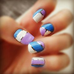 Color blocking with nail striping tape
