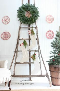 Antique Orchard Ladder dressed for Christmas