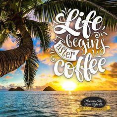 Life Begins After Coffee! - Kona Coffee Memes and Quotes for Coffee Lovers from Hawaiian Isles Kona Coffee Company. Honolulu, Hawaii. Cute and Funny Coffee Sayings, Truths and Humor for Breakfast, Morning Time and Coffee Break. Aloha!