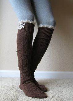 I'm in love. LOVE!!! The Milly Lace BROWN Cableknit BOOT SOCKS w/ by GraceandLaceCo, $34.00
