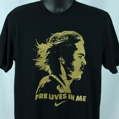 Nike Running Mens L T-Shirt Steve Prefontaine Pre Lives In Me Black Dri FitLarge #Nike #GraphicTee