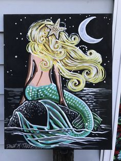 A personal favorite from my Etsy shop https://www.etsy.com/listing/514244598/blonde-mermaid-midnight-moon-stars-rock