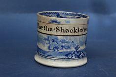 RARE NAMED EARLY Blue & White MUG, MARTHA SHACKLETON in Pottery, Porcelain & Glass, Pottery, Blue & White Transfer Ware   eBay