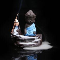 Auspicious Little Monk Alpine Flowing Water statue Smoke Backflow Incense Burner