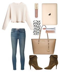 """""""Rib cropped pullover"""" by thestyleartisan ❤ liked on Polyvore featuring Topshop, Michael Kors, Frame Denim, Aquazzura and Smith & Cult"""