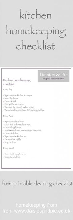 Kitchen homekeeping – daily, weekly and monthly - free printable homekeeping checklist | Daisies & Pie