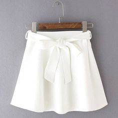 Trendy Women's Candy Color Bowknot Decorated High Waist Skirt ❤ liked on Polyvore featuring skirts, white skirt, embellished skirt, high-waisted skirts and white knee length skirt