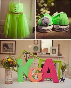 neon wedding dress