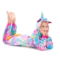 Colorful Pegasus Girls Christmas Costume Furry Fleece Pajamas – alfagoody