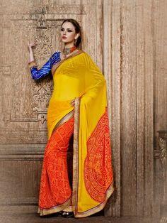 Yellow Orange Bandhni Print Partywear Saree