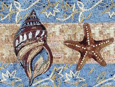 Conch and starfish mosaic border
