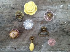 Eclectic Collection of 8 (Eight) Knobs / Pink Lemonade Collection / Antique Brass, Drop Pull, Yellow Rose, Clear Pressed Glass.