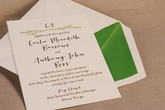 Letterpress printed with a sweet branches motif in spring green with a matching envelope liner.