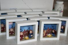 This project has been in the works for almost 2 years. I had made one of these frames and had it on a table for SO long. I had borrowed the . Christmas Bazaar Crafts, Christmas Activities, Christmas Projects, Christmas Crafts, Christmas Decorations, Christmas Ornaments, Felt Ornaments, Christmas Printables, Christmas Nativity Scene