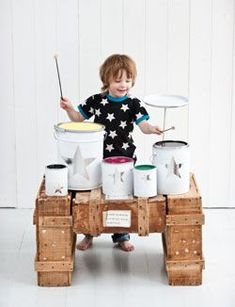 Homemade drum set from paint cans! Clever and noisy. How fun! Homemade Drum, Homemade Toys, Diy For Kids, Crafts For Kids, Diy Crafts, Homemade Musical Instruments, Diy Drums, Paint Your House, Best Kids Toys