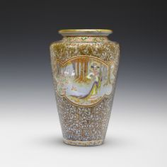 ** Emile Gallé, Nancy, (1846-1904), Blown, Internal Inclusions and Enameled Glass Vase.