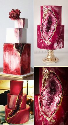 31 Geode Wedding Cakes You Will Love - Page 3 of 32 - Yes Delicious! Crazy Wedding Cakes, Blush Wedding Cakes, Wedding Cake Prices, Floral Wedding Cakes, Beautiful Wedding Cakes, Beautiful Cakes, Geode Wedding Cakes, Floral Cake, Purple Wedding