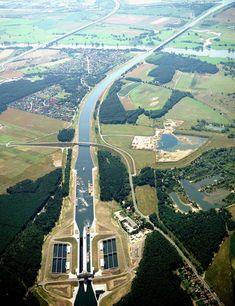 longest navigable aqueduct in the world: Magdeburg Water Bridge (Magdeburg, Germany) http://en.wikipedia.org/wiki/Magdeburg_Water_Bridge