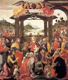 Adoration of the Magi - Domenico Ghirlandaio.  1488.  Tempera on wood.  285 x 240 cm.  Spedale degli Innocenti, Florence, Italy.