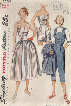 1951 Vintage Sewing Pattern PLAYSUIT-PANTS SKIRT TOP SHORTS B32 (1169)