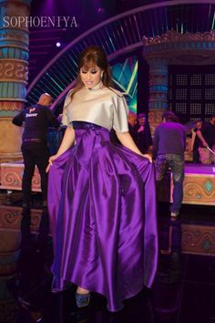 Elegant 2017 New Arrival Arab Style Purple Taffeta Najwa Karam Evening Dresses with Jacket Robe De