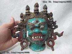 Tibet Buddhism Copper inlay coral turquoise Yama Yamantaka Mahakala Buddha Mask.