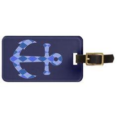 Stylish Blue Anchor Custom Luggage Tag