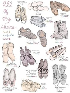 鞋子百科, How to Draw Shoes, Artist Study Resources for Art Students, CAPI ::: Create Art Portfolio Ideas at milliande.com , Inspiration for Art School Portfolio Work, Food, Drawing Food, Sketching, Painting, Art Journal, Journaling, illustration,feet