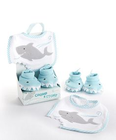 Another great find on #zulily! Baby Aspen Chomp & Stomp Shark Bib & Booties Gift Set by Baby Aspen #zulilyfinds