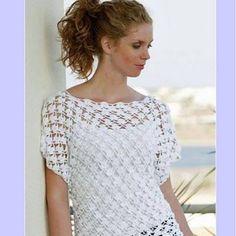 Bit of Color: Zomertop haken met Haakschema Débardeurs Au Crochet, Crochet Shirt, Crochet Diagram, Crochet Woman, Crochet Stitches, Crochet Patterns, Diy Crafts Crochet, Shrugs And Boleros, Crochet Fashion