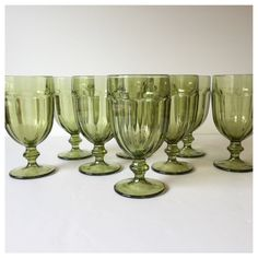 Vintage Green Gibralter Glasses, Mid Century Pedestal Glasses, Libby Duratuff Green Drinkware, Ice Tea Glasses, Set of Eight by GirlGoesVintage on Etsy